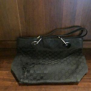 Gucci tote purse Black GG logo. With damage